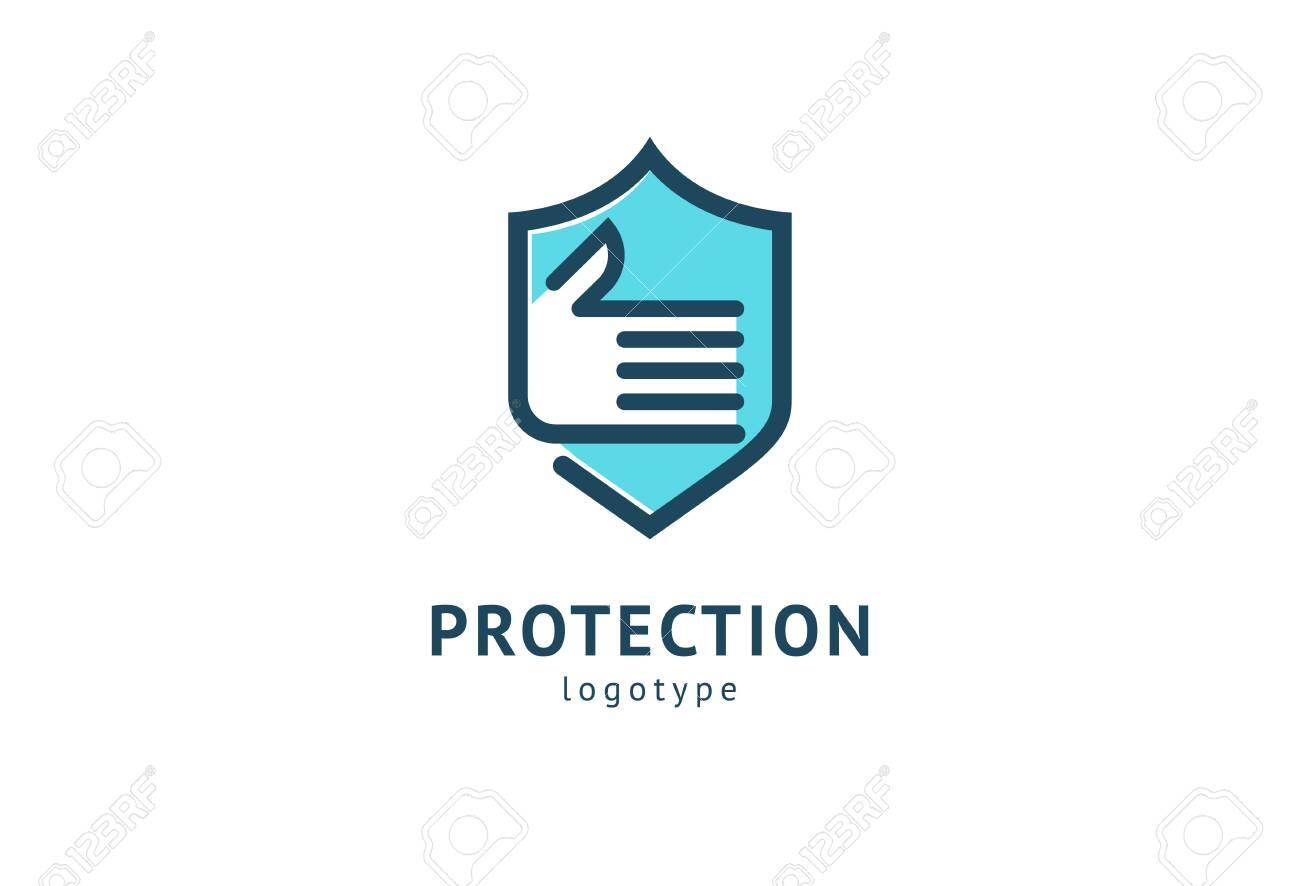 Shield icon. Vector flat style illustration Abstract business security Agency logo template. Logo concept of antivirus, protection, insurance, privacy, guard - 122369559