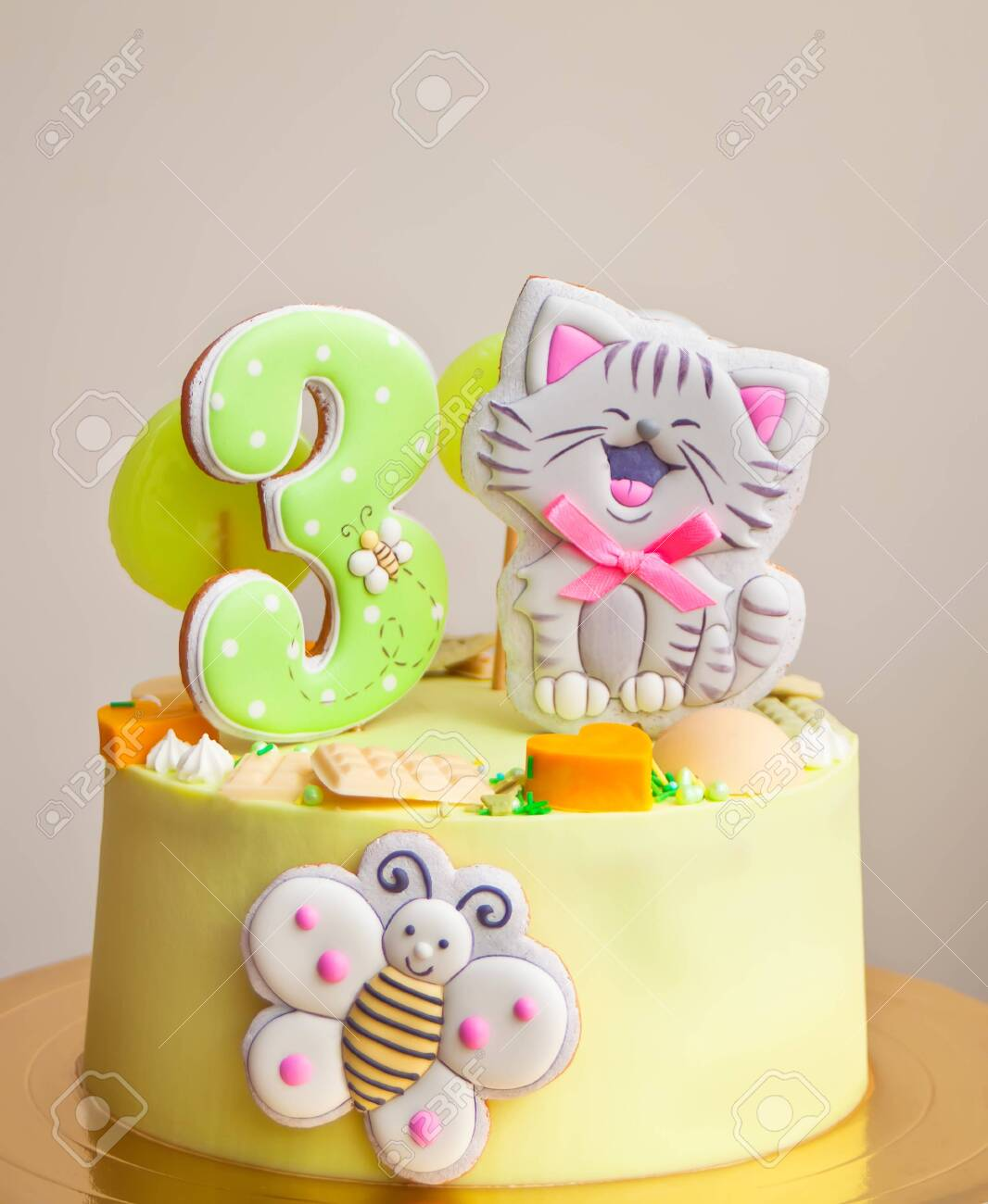 Groovy Birthday Cake For Little Girl Decorated Funny Cookies With Cat Funny Birthday Cards Online Inifofree Goldxyz