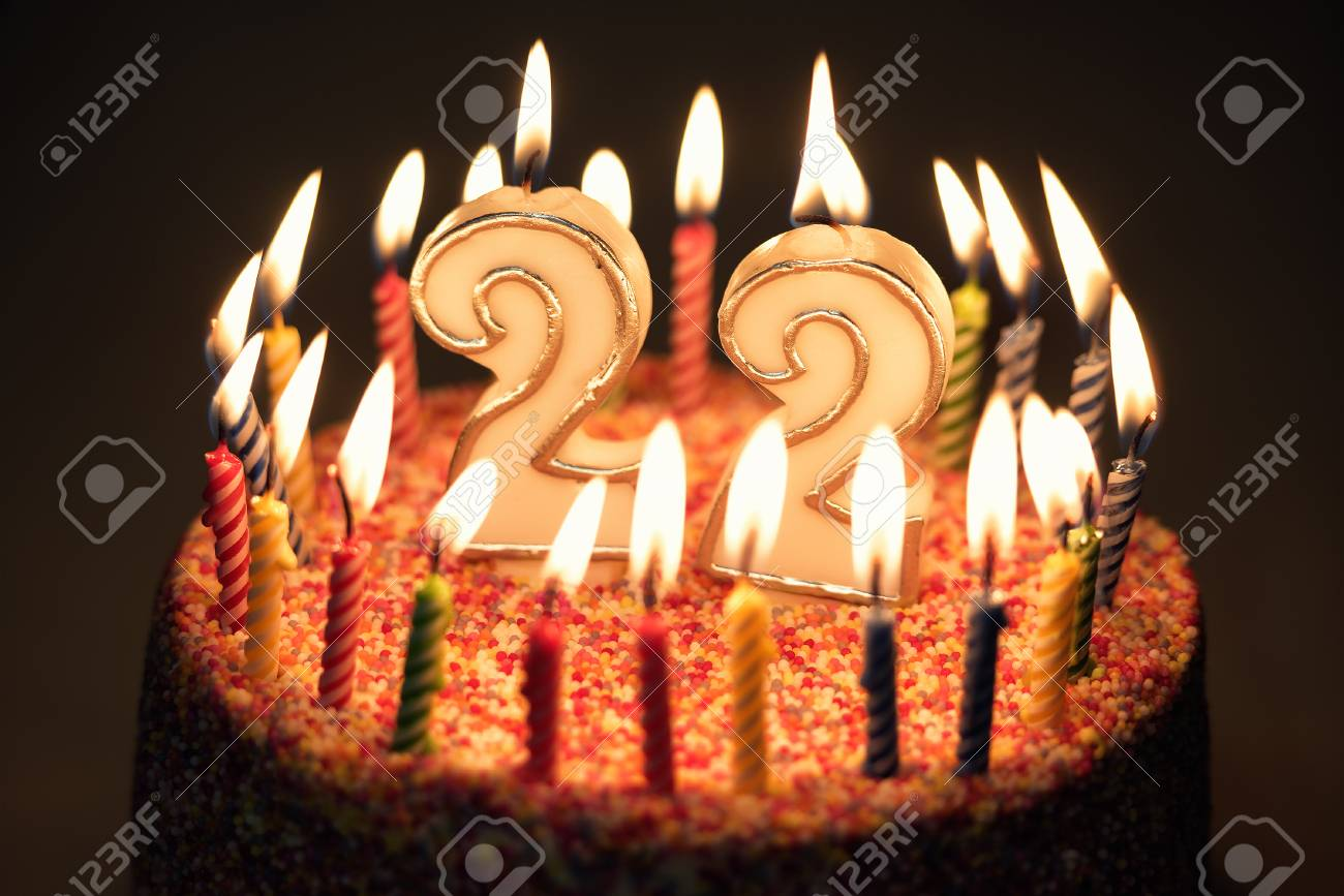 Pleasing 22 Number With Festive Candle For Holiday Cake Twenty Two Personalised Birthday Cards Veneteletsinfo