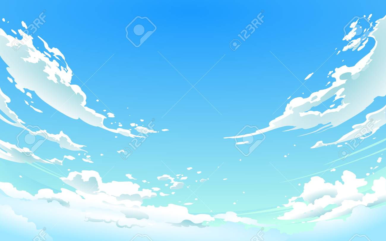 Vector illustration of cloudy sky in Anime style. - 100999925