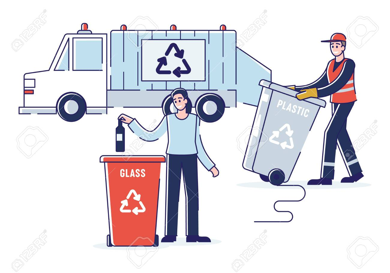 Recycling And Zero Waste Concept.Woman Is Sorting Garbage Throwing Bottle Into Recycle Bin. Refuse Collector Loading Waste Into Garbage Truck. Cartoon Outline Flat Vector Illustration - 142387826