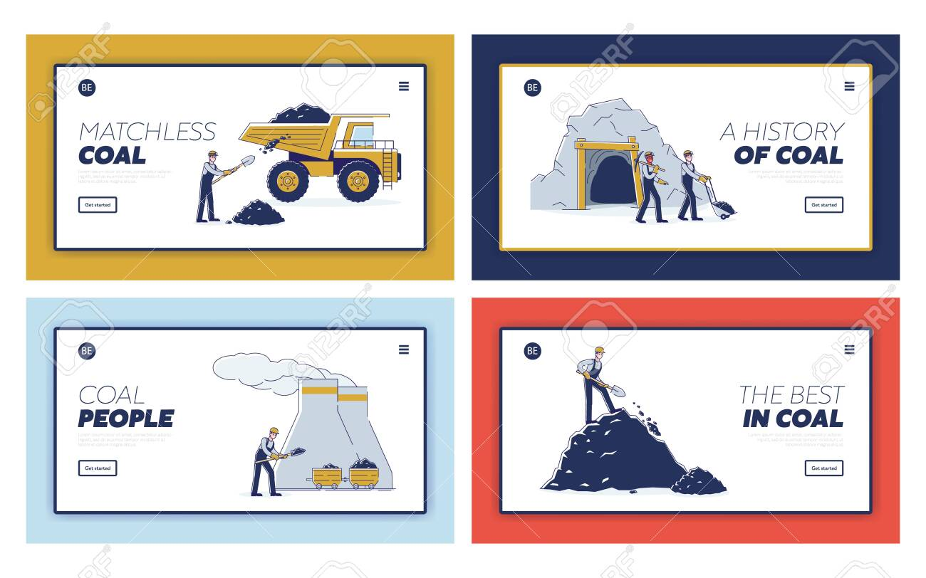 Concept Of Coal Mining. Website Landing Page. Work Crew Mine Coal By Means Equipment For Further Delivery To Thermal Power Plant. Web Page Cartoon Linear Outline Flat Style Vector Illustrations Set - 143526940