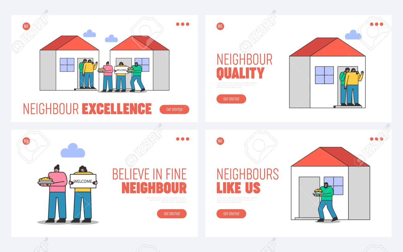Suburb and neighborhood website landing pages set with neighbors welcoming and greeting new people - 150904267