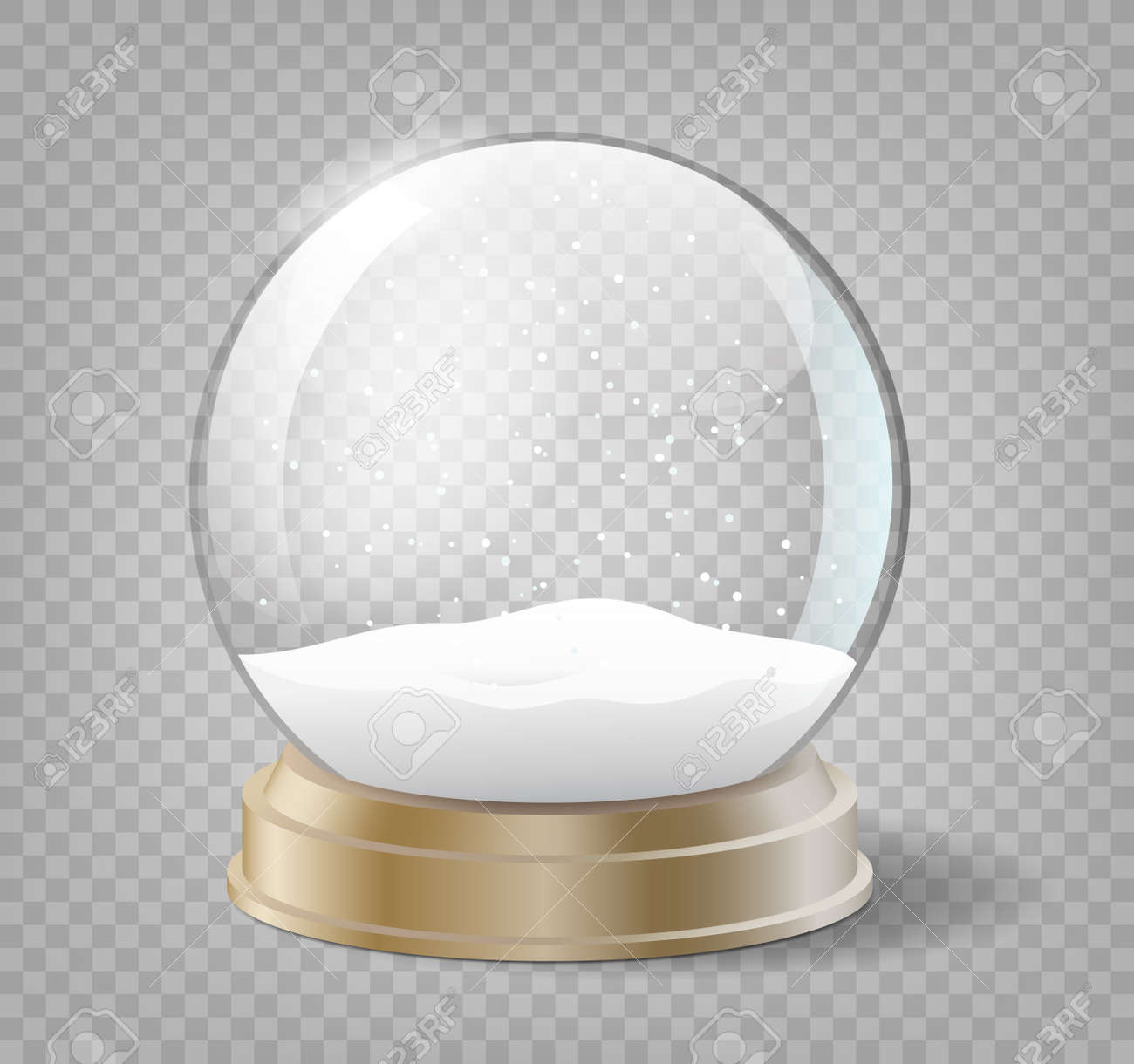 Christmas snow globe on transparent background. Glass sphere with snow for winter holiday events - 157432554