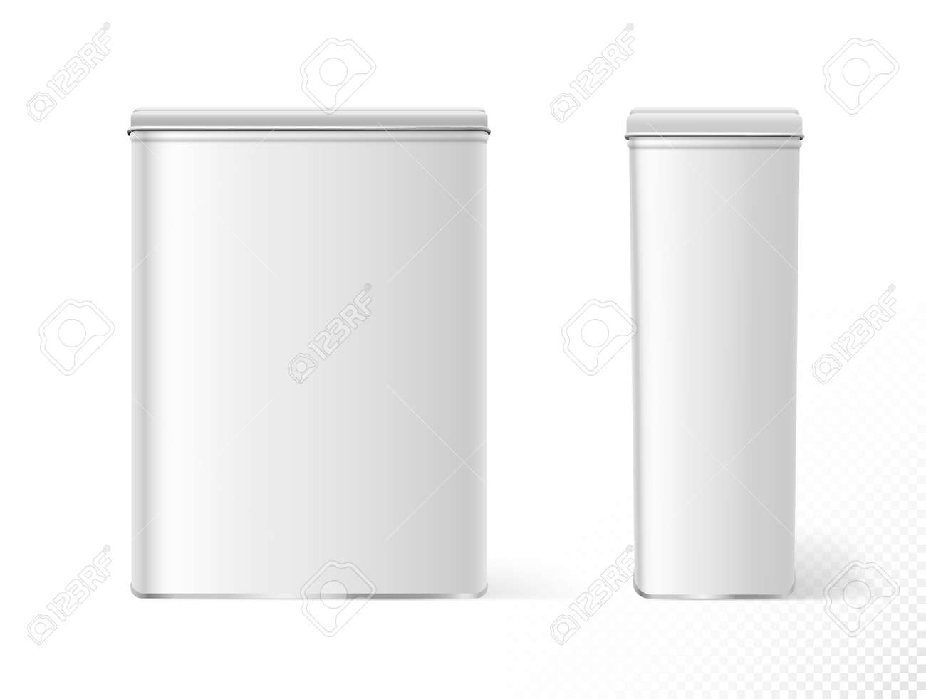 Food containers. Realistic white metal tin food storage empty blank, front and side view - 157752238