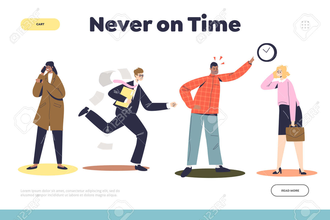 Never on time landing page with angry businessman boss and workers being late - 159487231