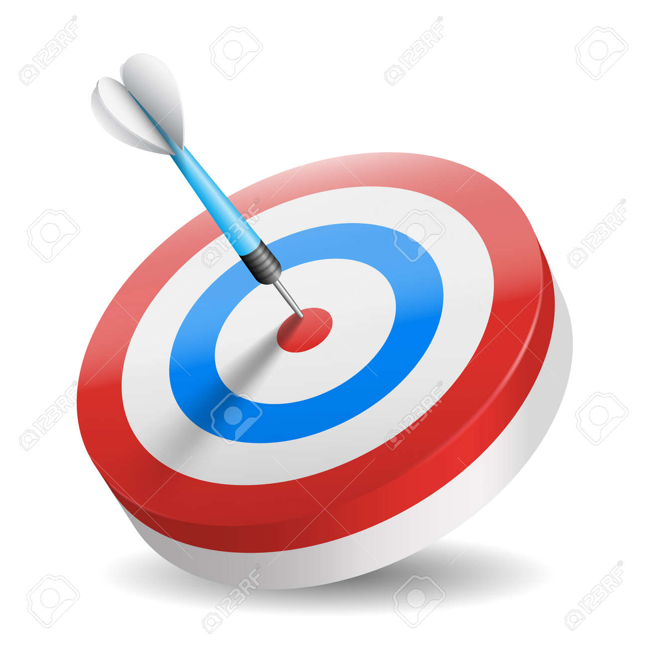Business and sports concept with 3d dart arrow in bullseye isolated - 159846601