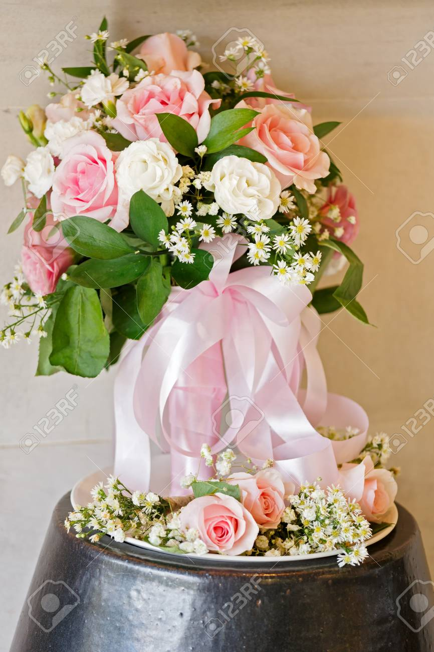 Light Pink Bouquet With Pink And White Rose With Natural Light Stock Photo Picture And Royalty Free Image Image 88103166
