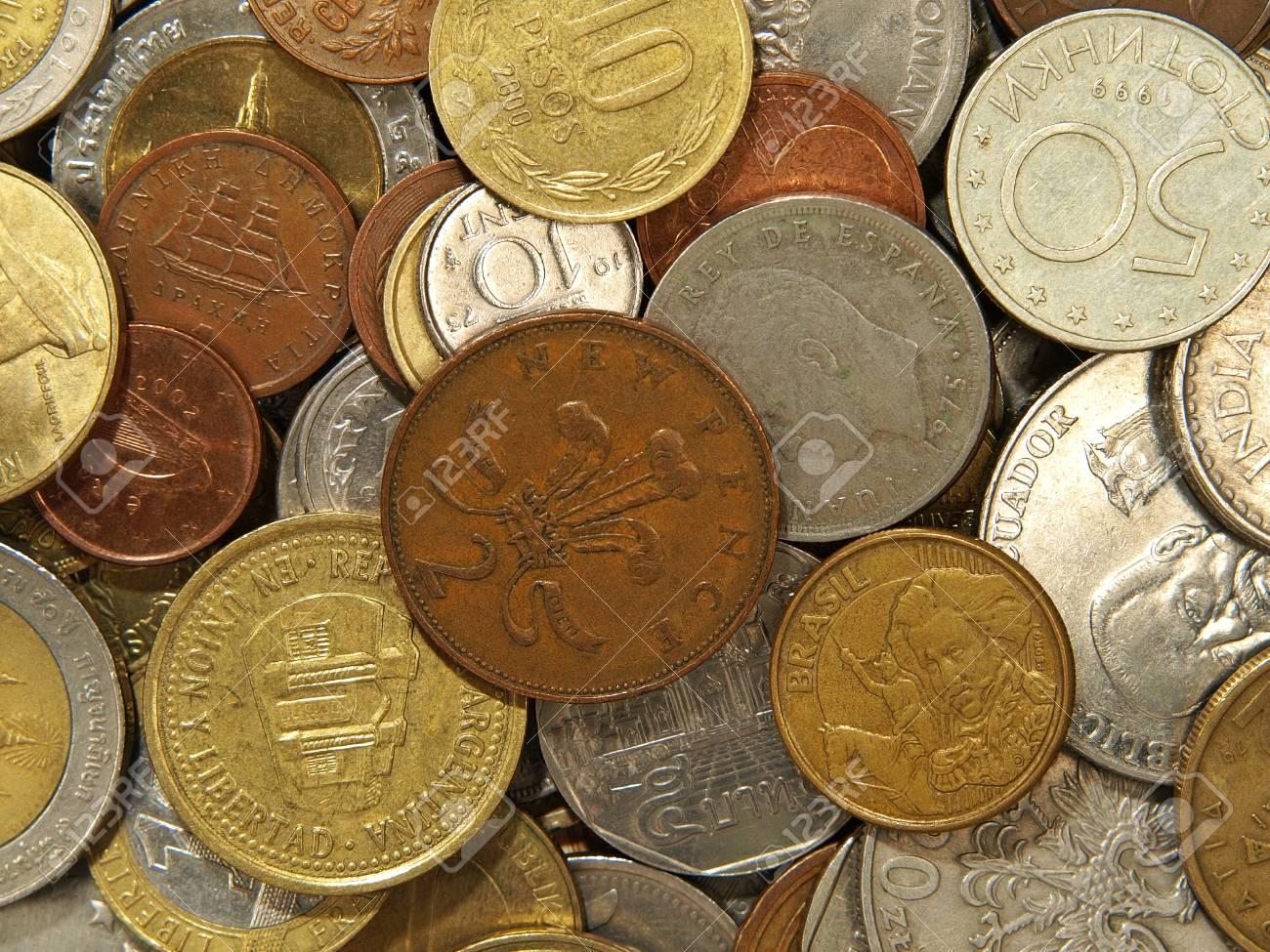 Münzen Verschiedener Länder Getroffen Nahaufnahme Als Hintergrund