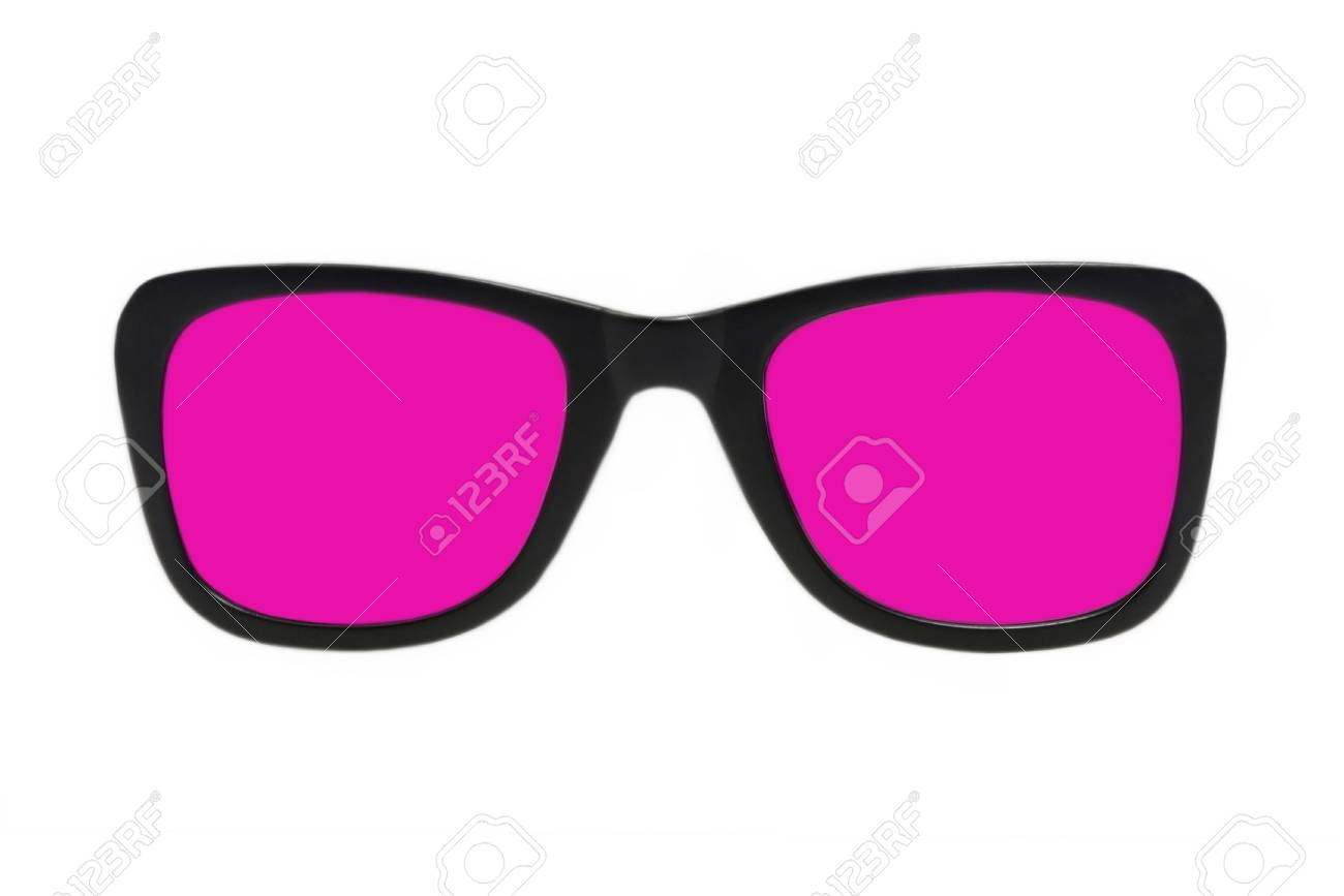 Pink glasses in black frame taken closeup isolated on a white background Stock Photo - 17266635