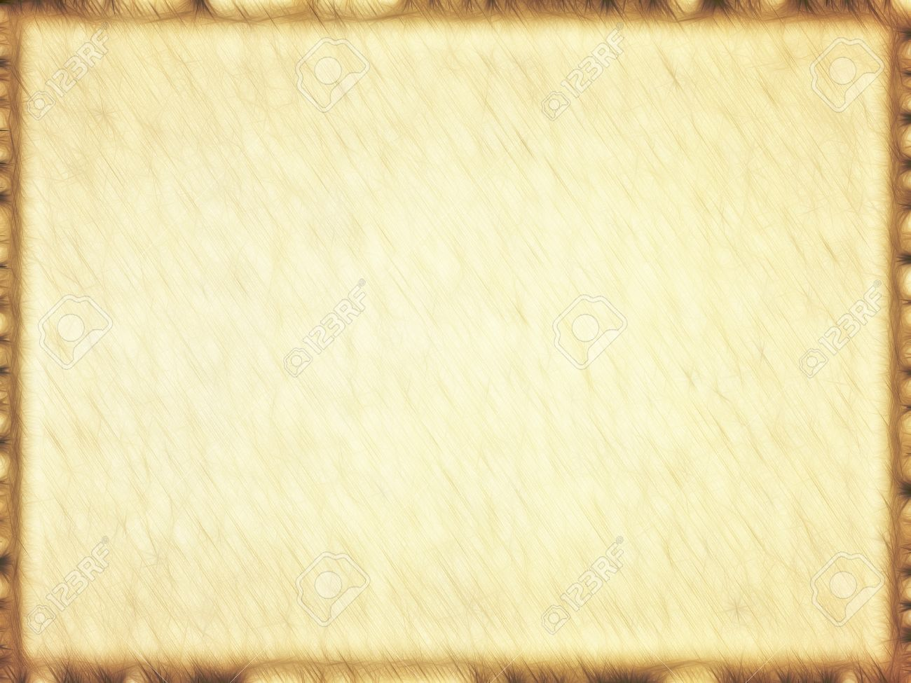 Rectangular Empty Old Papyrus With Brown Border Background Stock ...