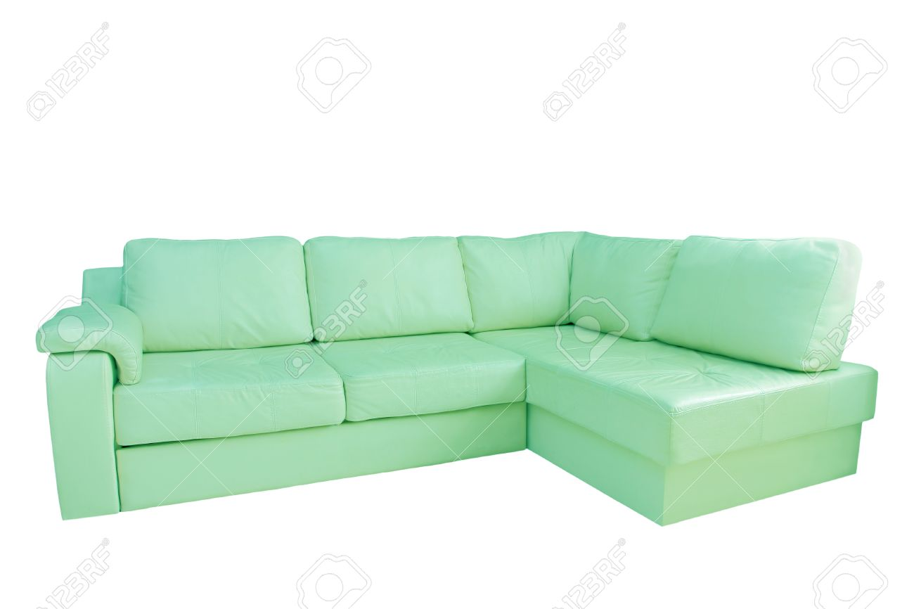 Mint Leather Corner Sofa Isolated On White Background. Stock Photo    40356569
