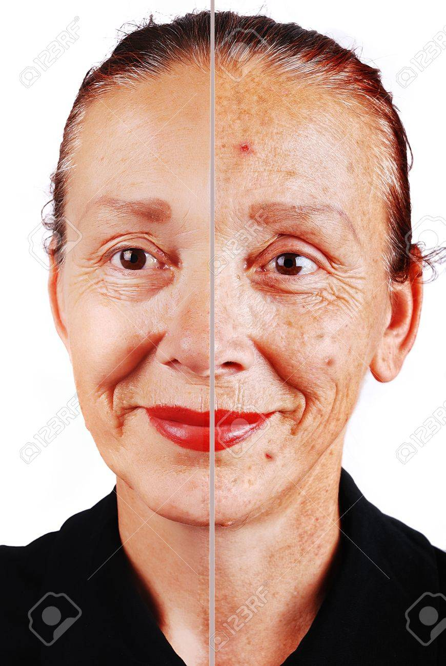 Senior woman with old skin face and retouched other half Stock Photo - 5323595