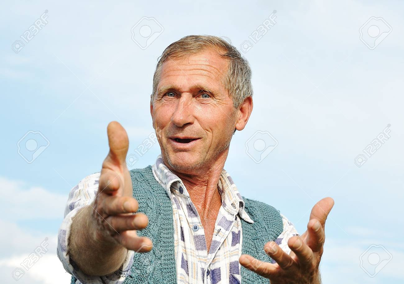 Middle aged male person with interesting gestures Stock Photo - 5555211