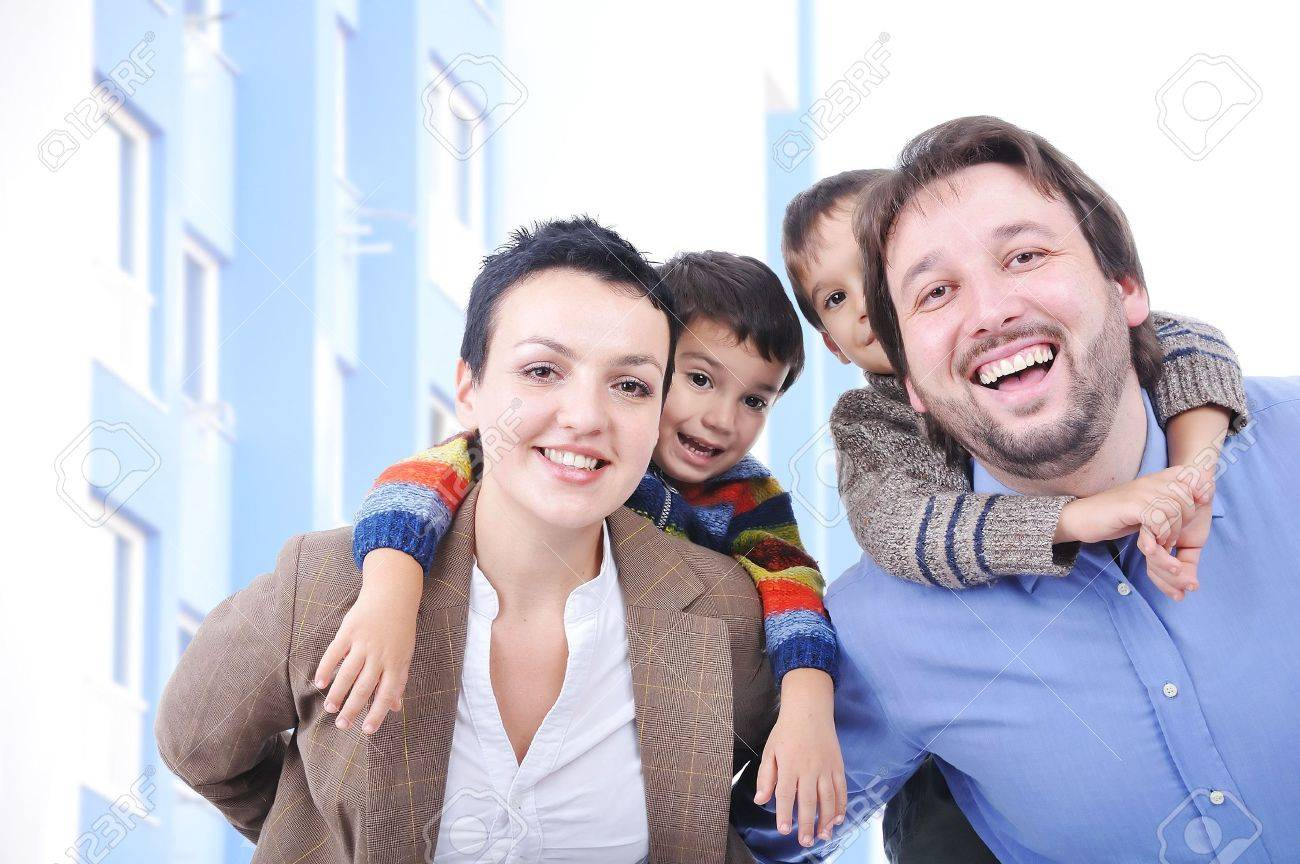 Very beautiful happy family, four members Stock Photo - 5853174