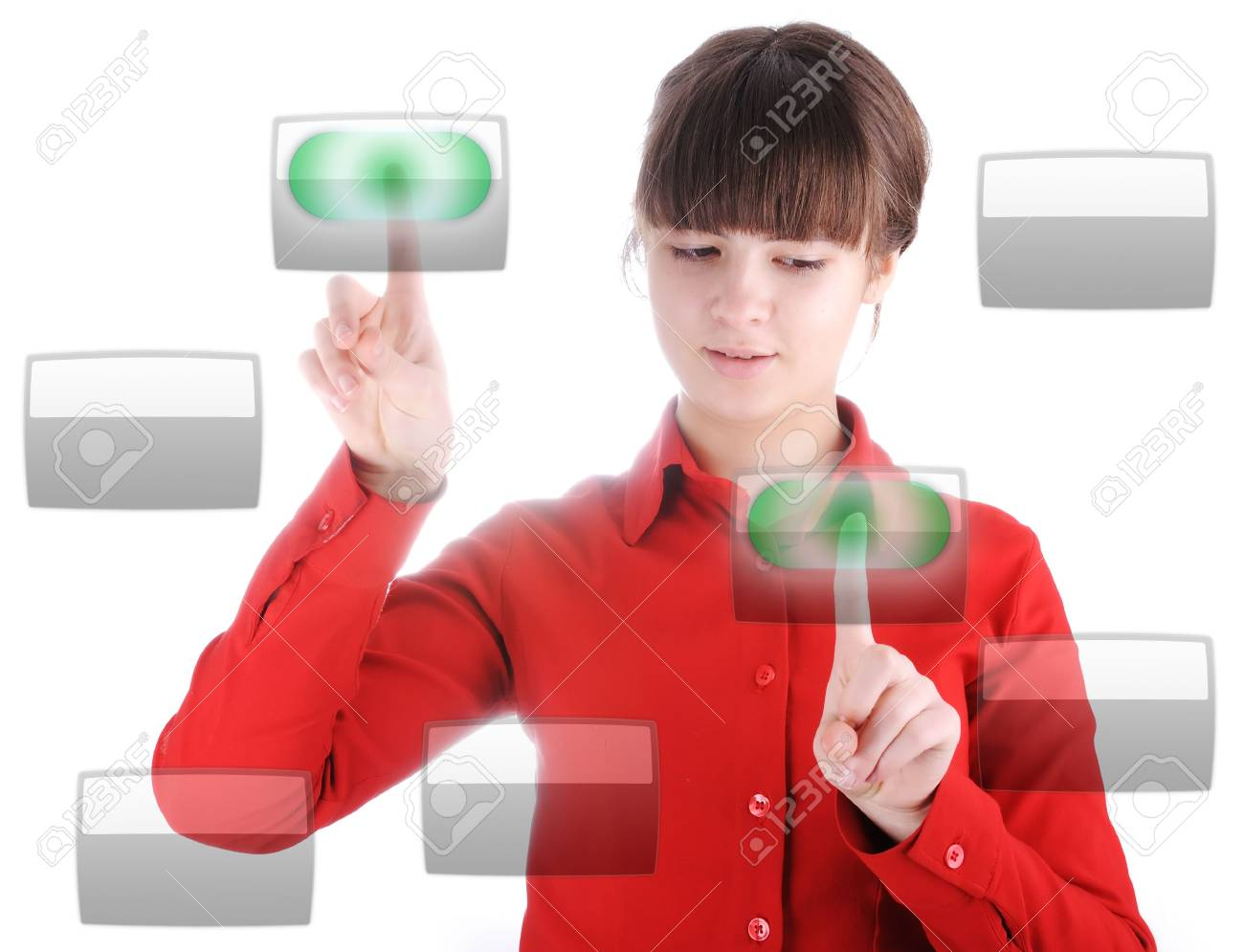Girl with digital buttons Stock Photo - 6161024
