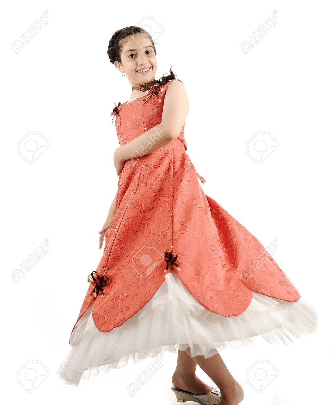 Adorable beautiful girl, full lenght body isolated, dancing Stock Photo - 9017086