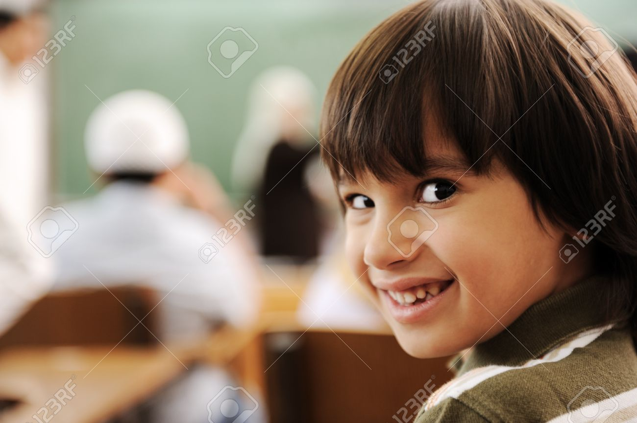 Education activities in classroom at school, happy children learning Stock Photo - 10290785