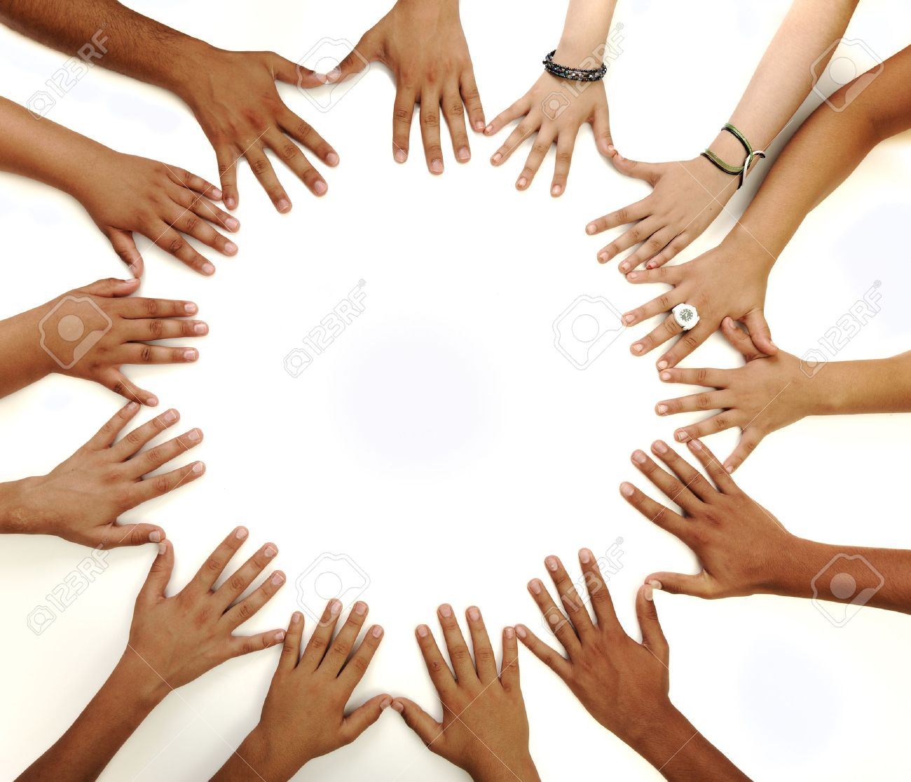 Conceptual symbol of multiracial children hands making a circle conceptual symbol of multiracial children hands making a circle on white background with a copy space biocorpaavc Gallery