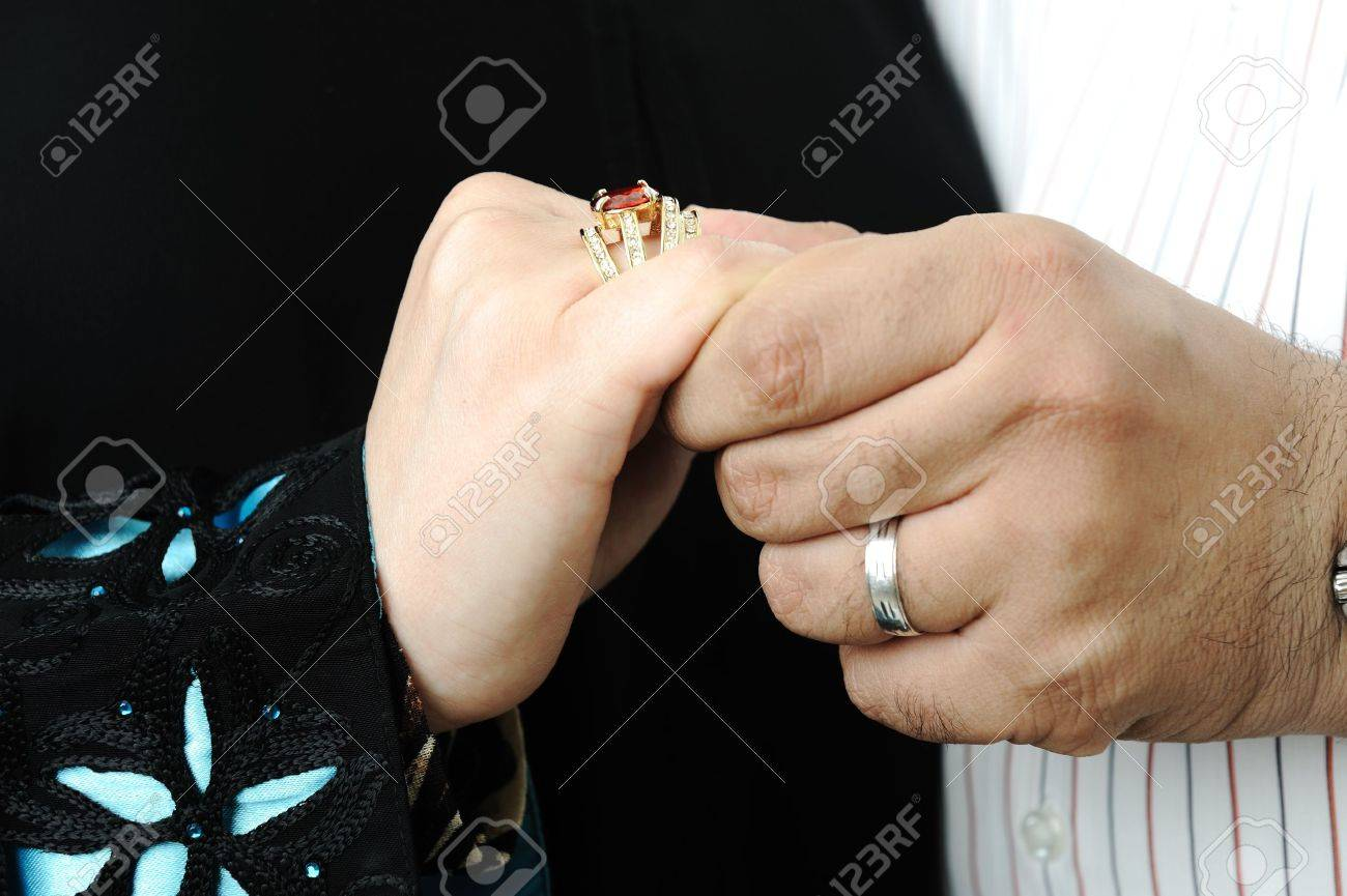 Wedding Day Bride And Grooms Hands With Rings Stock Photo Picture