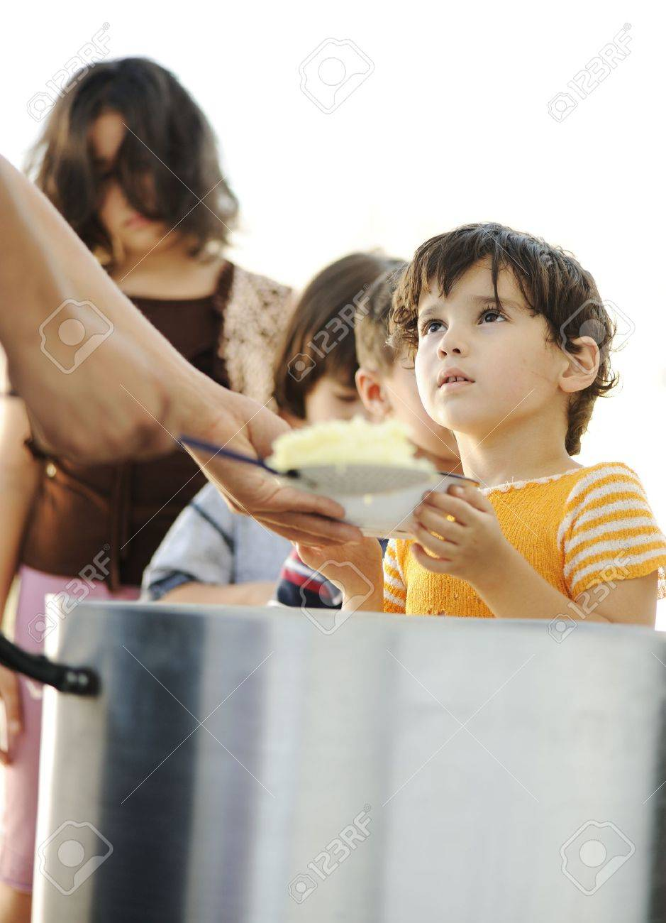 Hungry children in refugee camp, distribution of humanitarian food Stock Photo - 10680493
