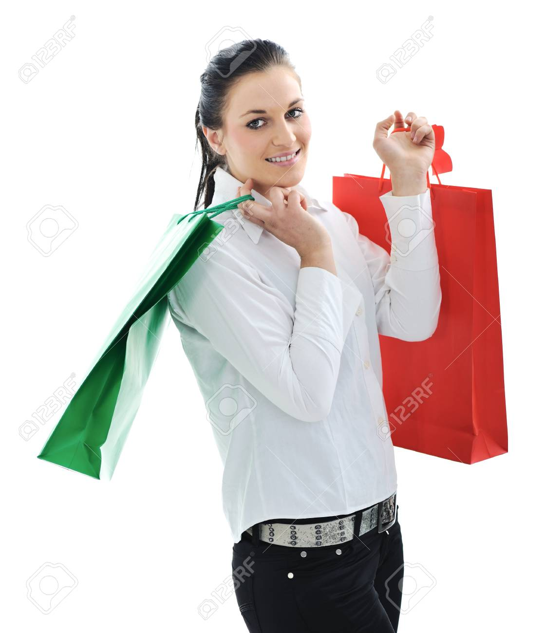 Beautiful young female with shopping bags Stock Photo - 11176568