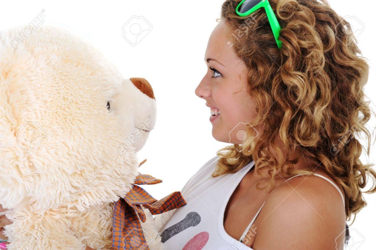 Teenage Mädchen Mit Einem Teddybär Kein Name Oder Marke