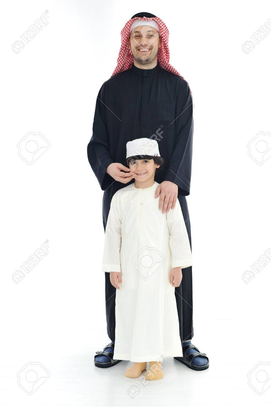 Arabic Muslim father and son standing together Stock Photo - 13827890