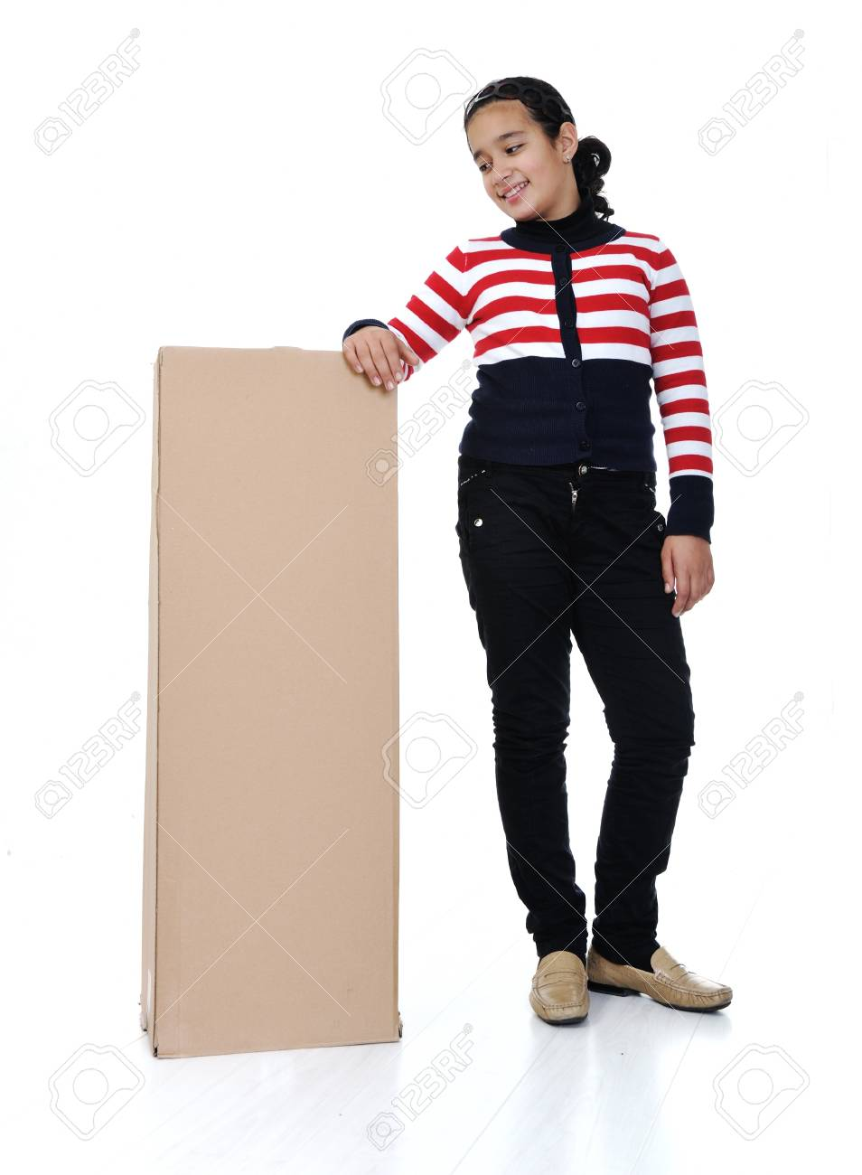 Girl holding paper box isolated Stock Photo - 18473870