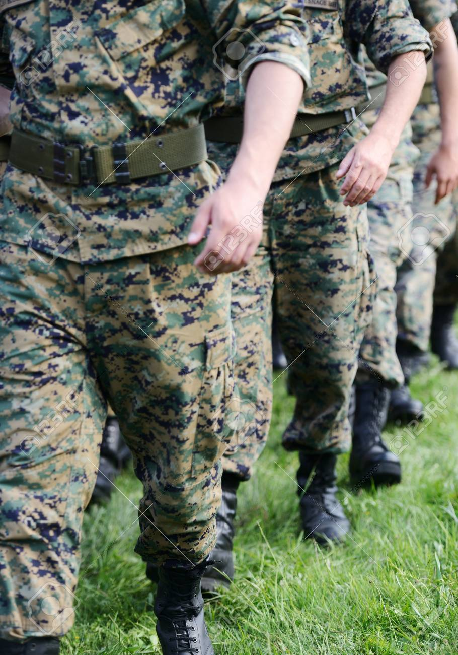 Soldiers with military camouflage uniform in army formation Stock Photo - 18478446