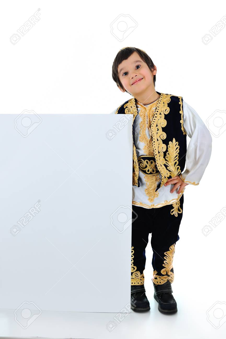 Cute little kid with big banner Stock Photo - 19277726
