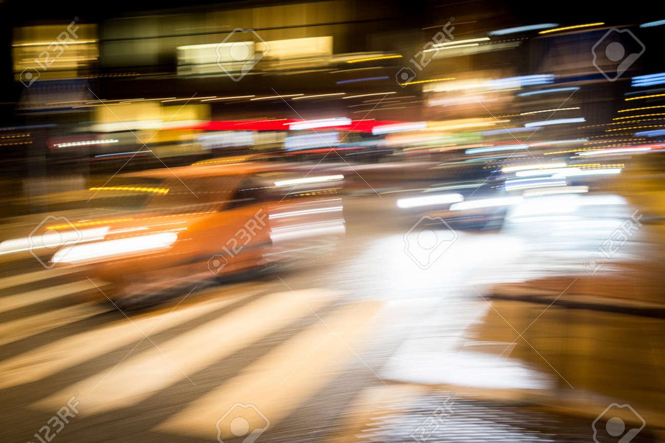 Cars motion on city rain night street - 140441723