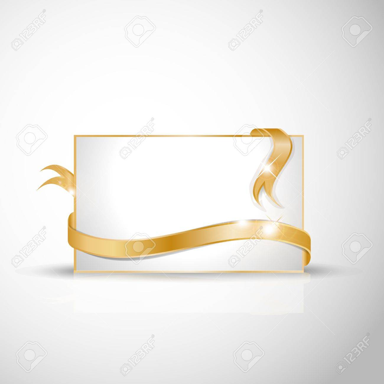 White greeting card with golden ribbons around Stock Vector - 11674829