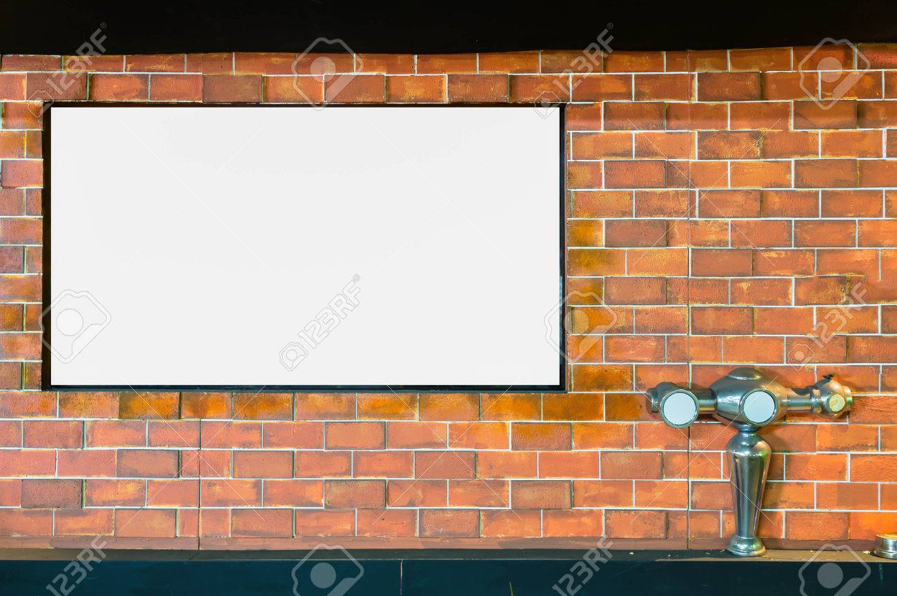 Picture Frames On Brick Wall And Dispensing Beer Stock Photo ...