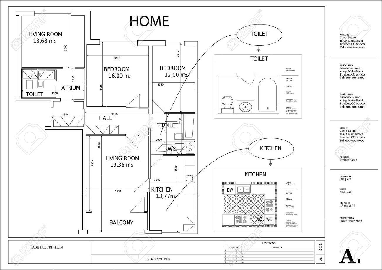 Vector Architectural Drawing House Plan