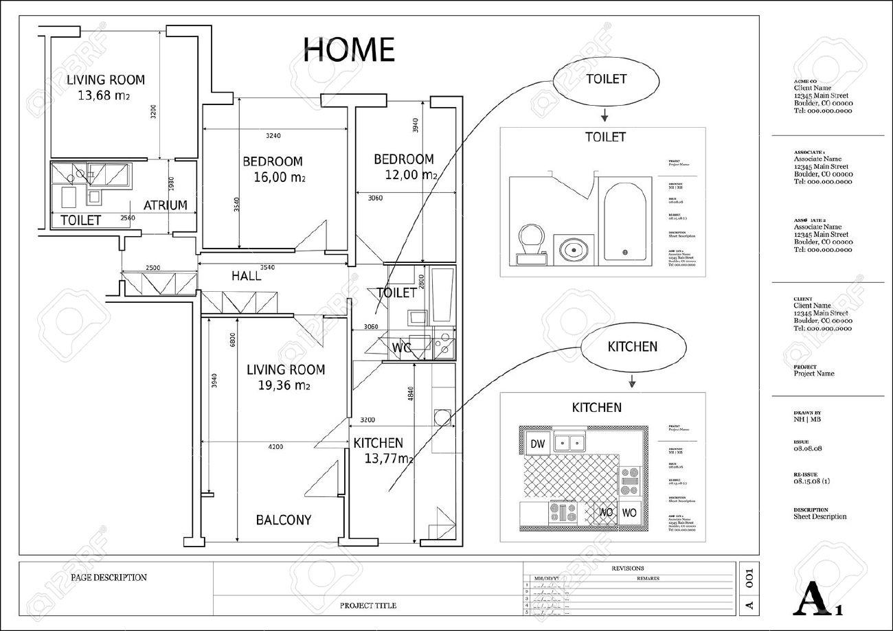 Dibujo Arquitect Nico Plan De Vivienda Ilustraciones Vectoriales  # Muebles Dibujo Arquitectonico