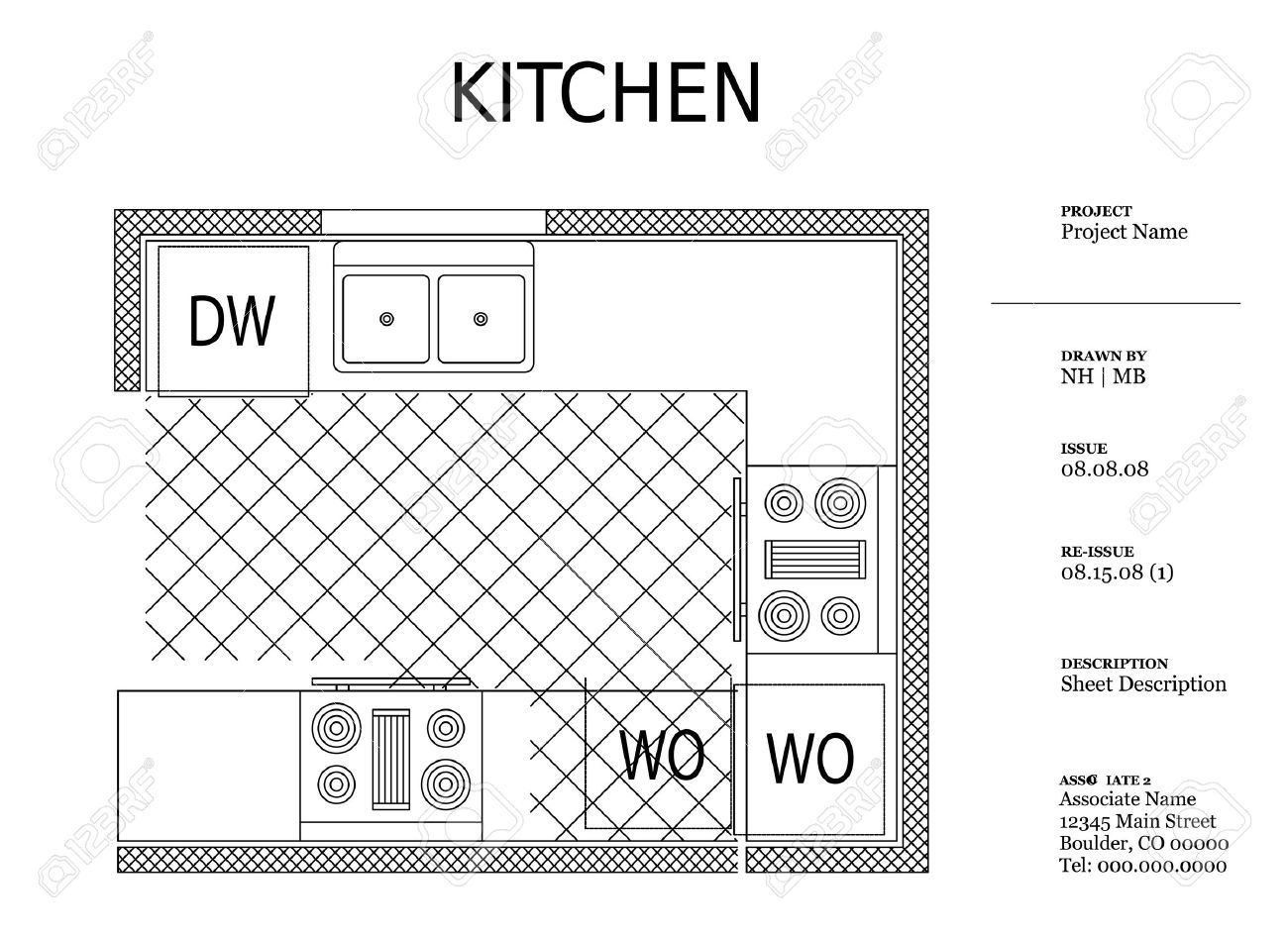 Kitchen Furniture Names Architectural Kitchen Plan Royalty Free Cliparts Vectors And