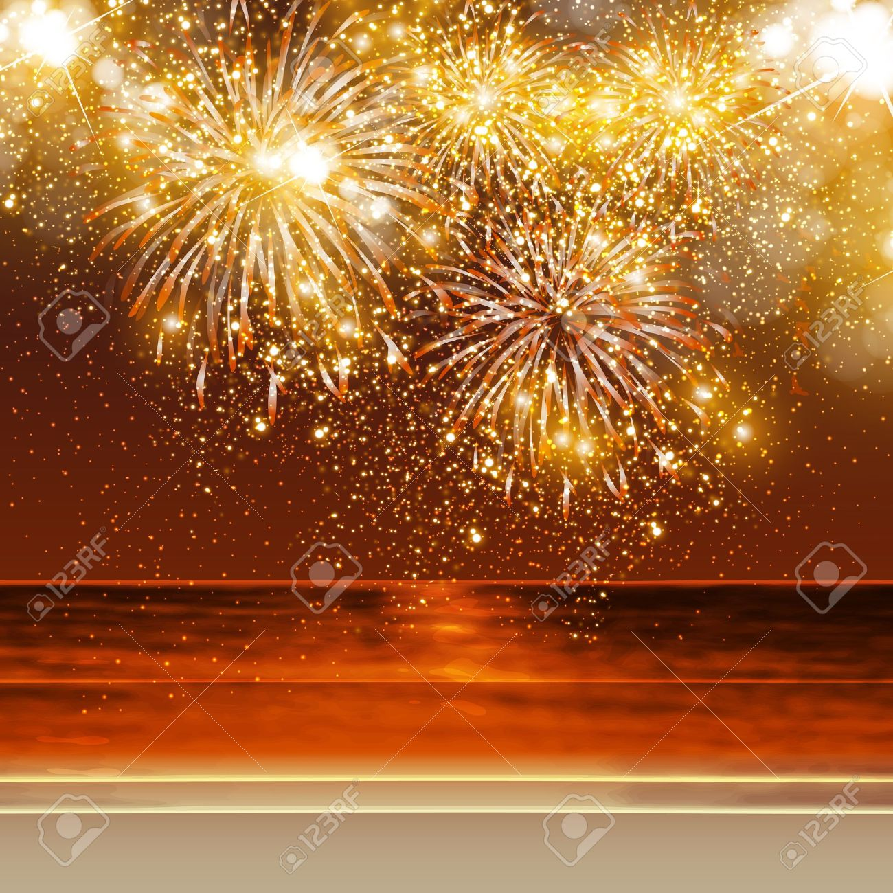 Happy New Year fireworks background in summer, easy all editable Stock Vector - 22734378
