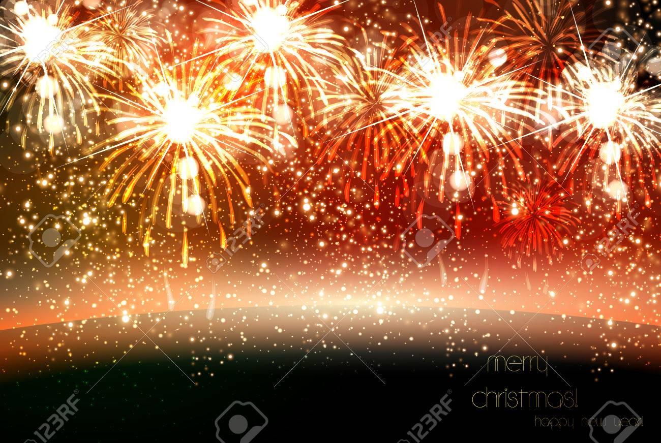 Feliz Ano Nuevo Y La Navidad Del Vector Celebracion De Fuegos