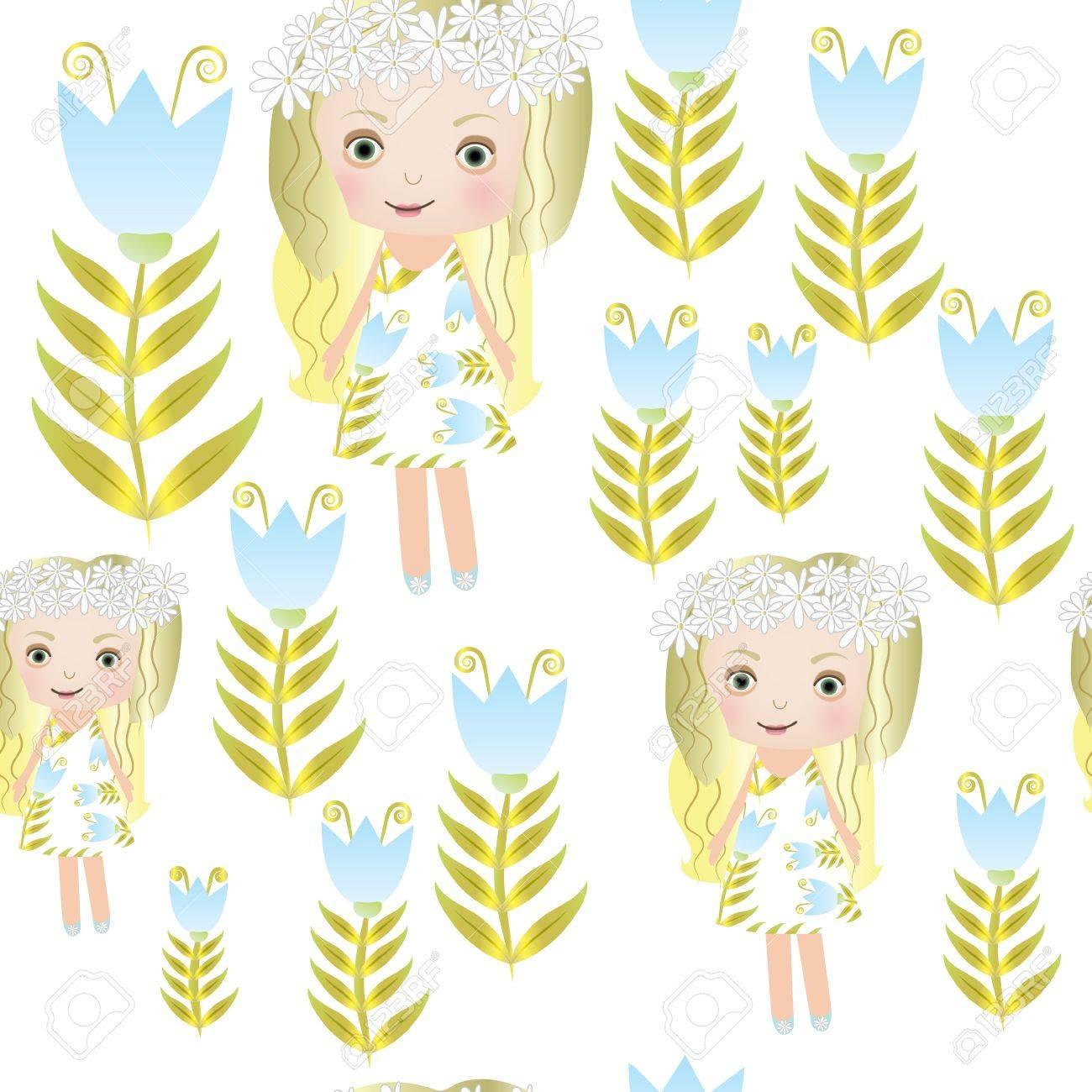 Seamless sweet small fairy girl illustration background pattern Stock Vector - 16505917