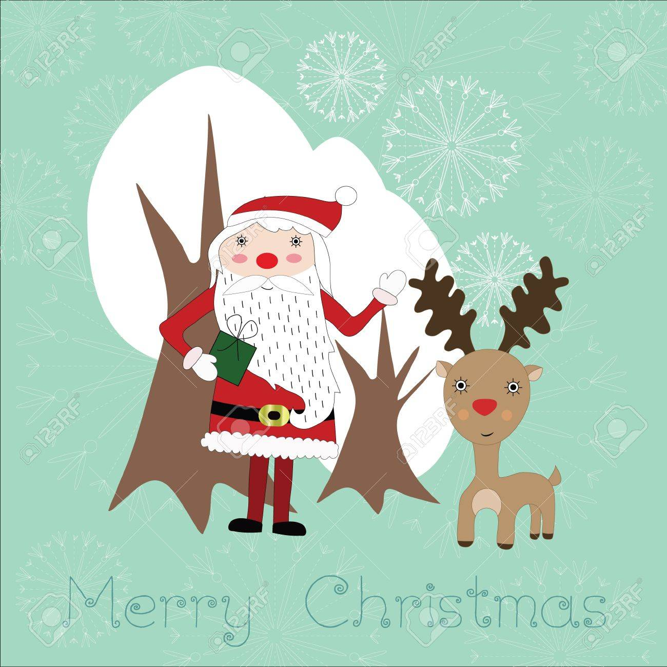 Cute Christmas card with Santaclaus, reindeer, snowflakes and white trees Stock Vector - 16587094