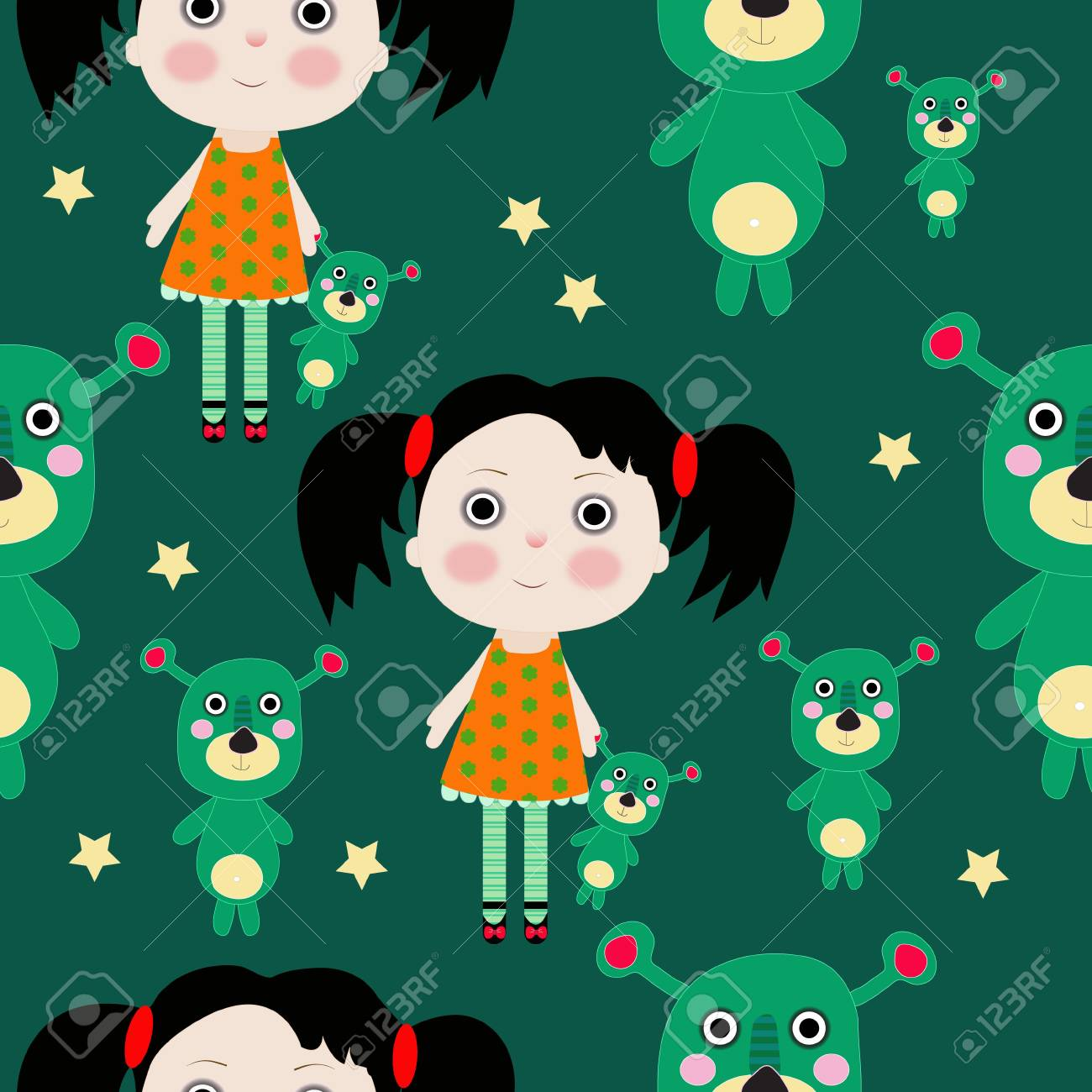 Seamless sweet small girl with toy and stars illustration background pattern Stock Vector - 16593253