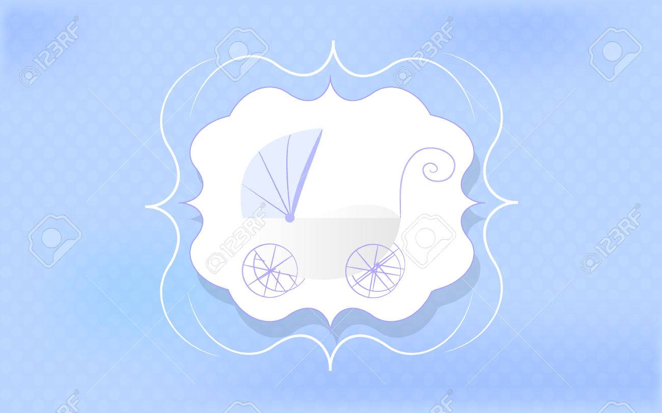 Baby Boy Greeting Card Blue Stroller For Newborn Royalty Free