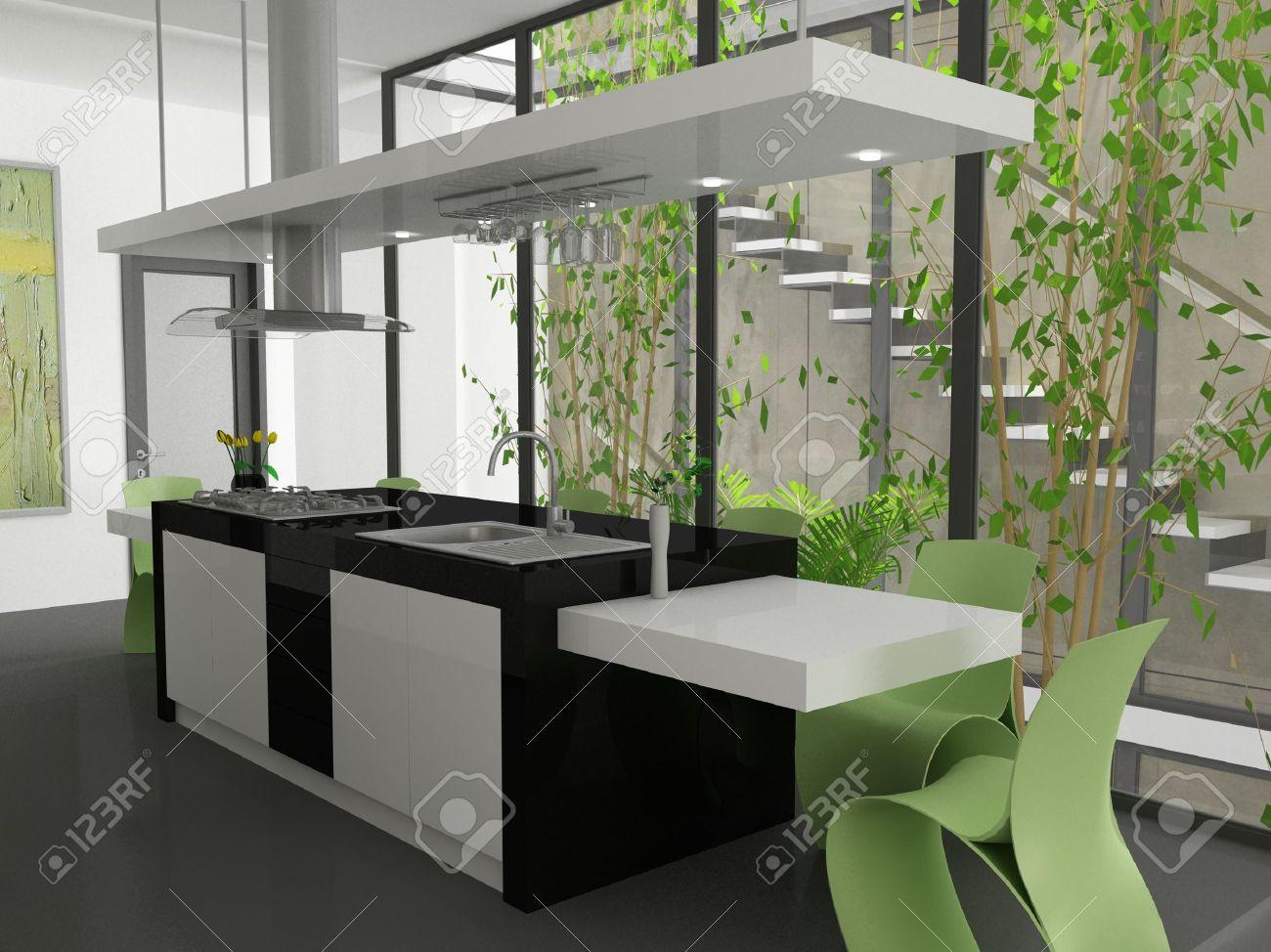 A 3d render of a modern kitchen island. - 5671178