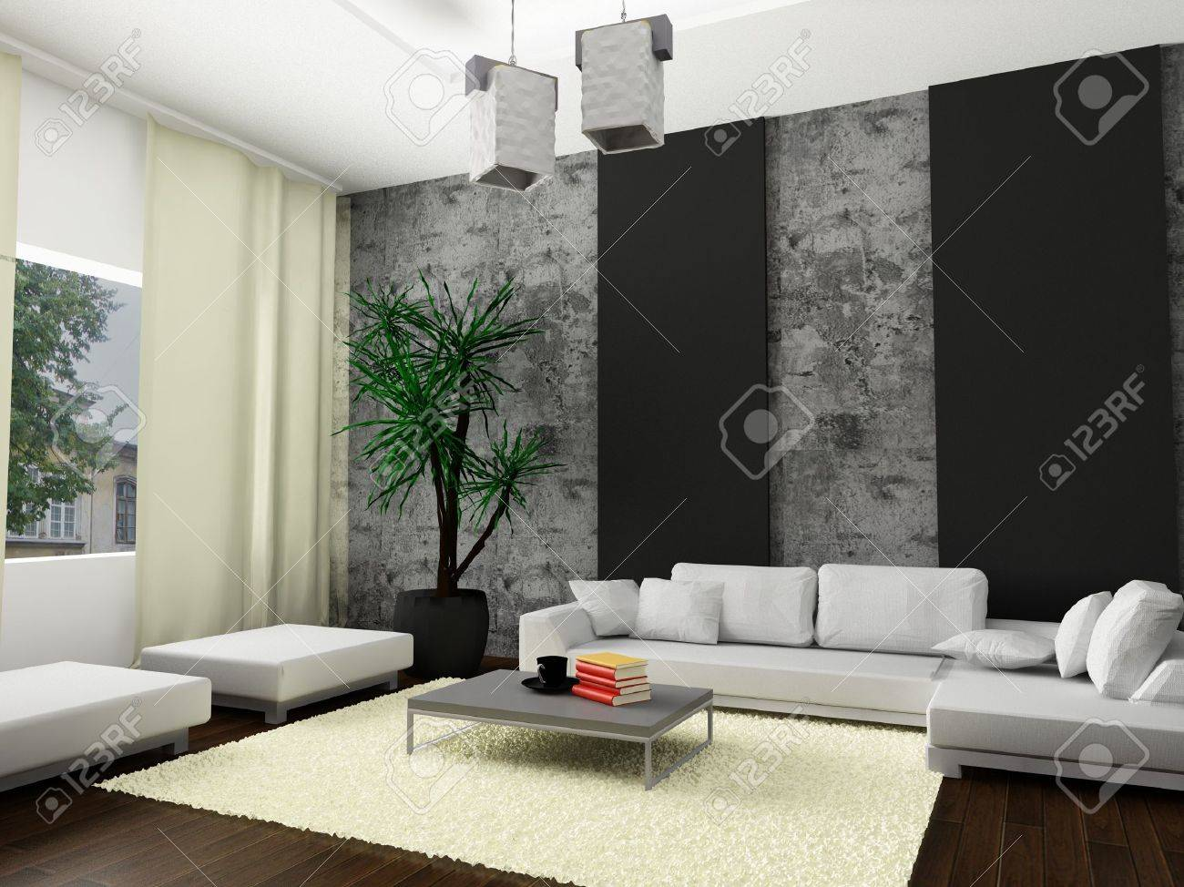 A 3d render of a modern interior. - 5671180