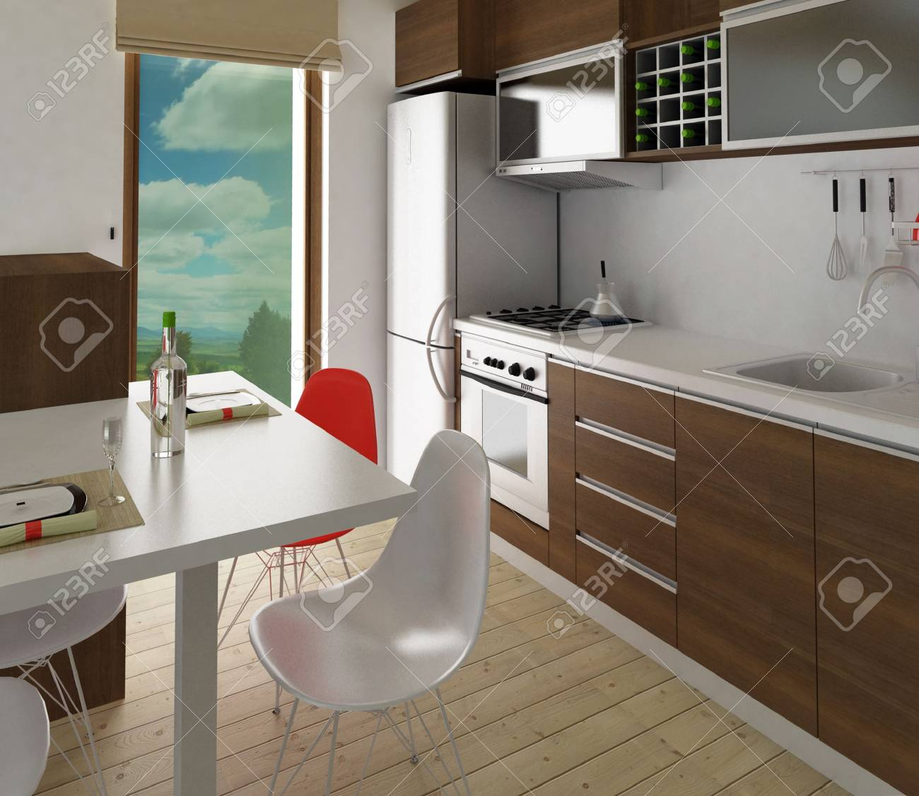 Modern kitchen with dining place - 8113457