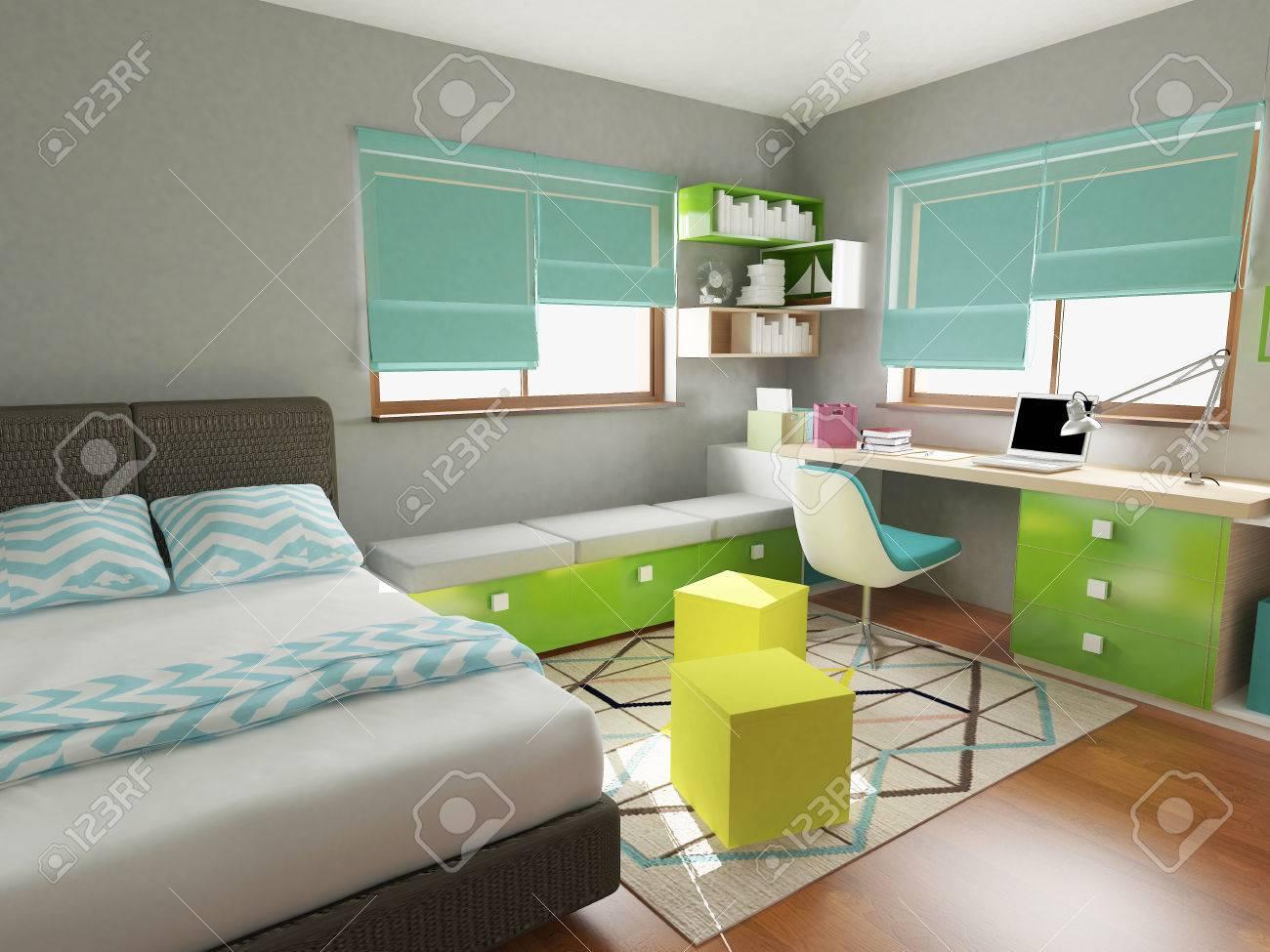 modern colorful children bedroom, 3d render - 43896989
