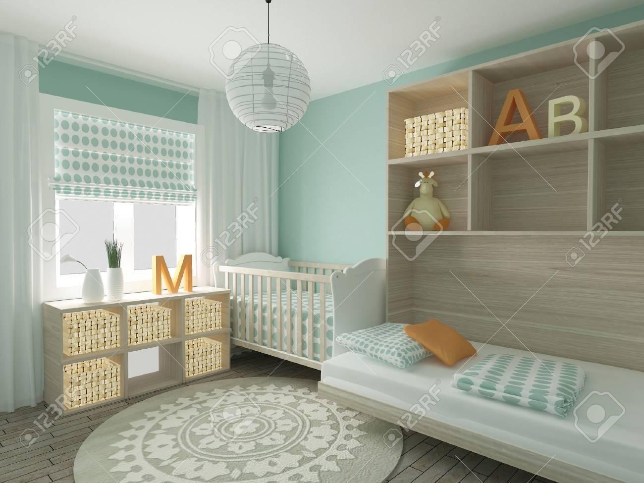 Baby room interior, 3d render - 44198979