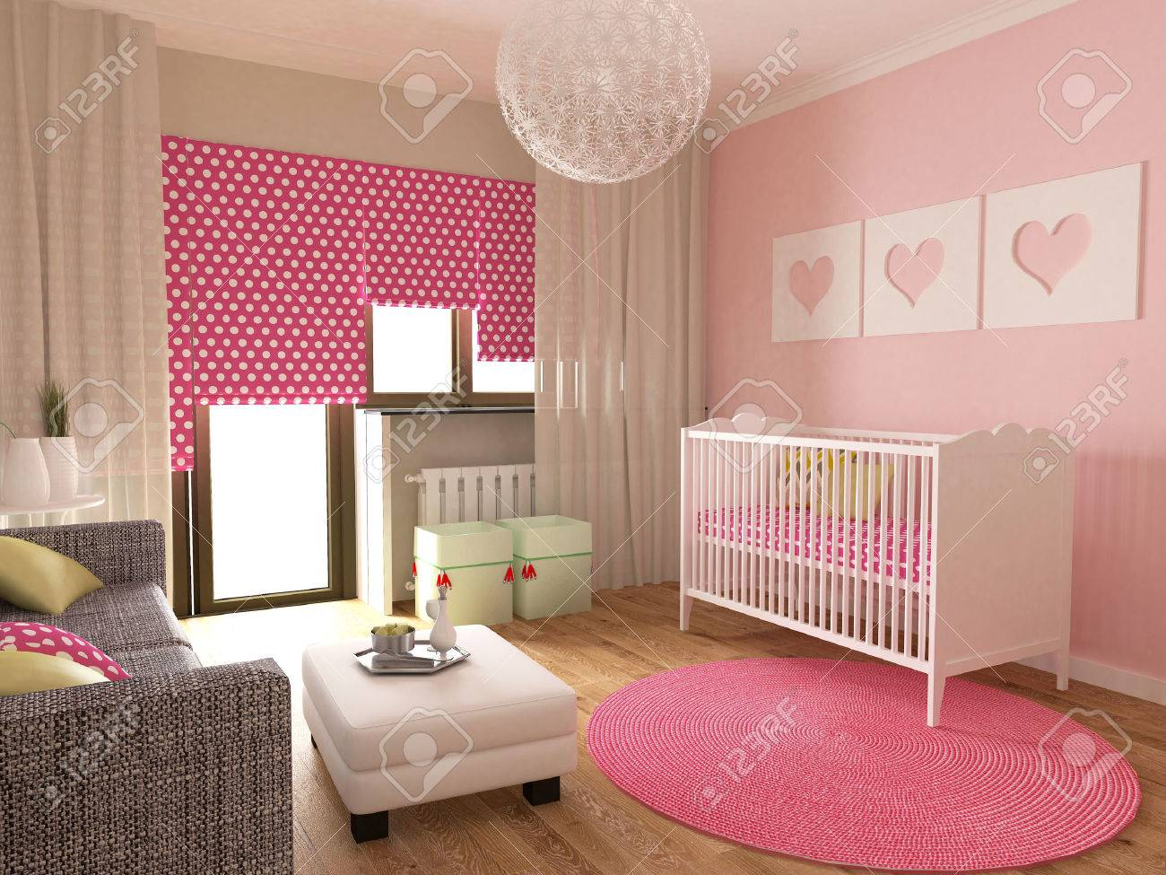 Babykamer Interieur, 3d Renderen Royalty-Vrije Foto, Plaatjes ...