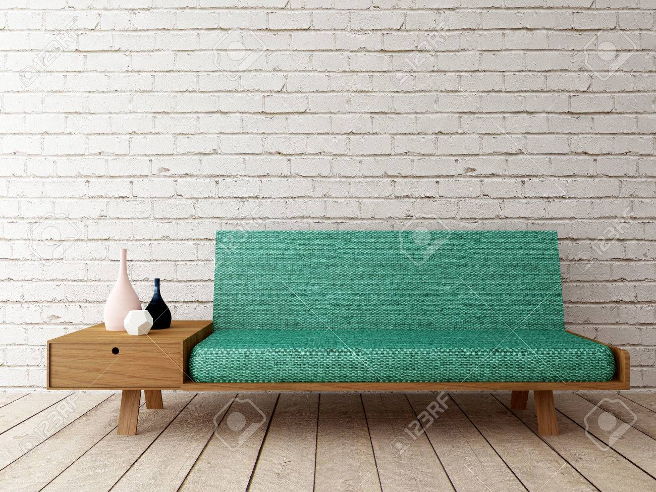 modern interior with sofa on brick wall - 51228237